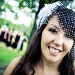 Bride with veil smile outside at wedding ceremony in Nashville Tennessee