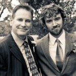 Father and groom smile outside at wedding ceremony in Nashville Tennessee