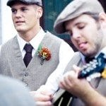 Groomsmen playing music at wedding ceremony in Nashville Tennessee