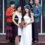Family with bride on steps outside house before wedding ceremony in Nashville Tennessee