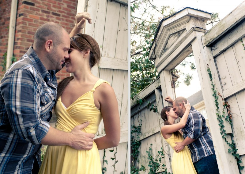 Engagement Photo of Couple Kissing Outdoors | Nashville Photography