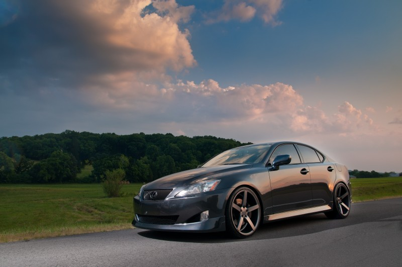 Gray Lexus IS350 on Vossen Wheels in beautiful sunset