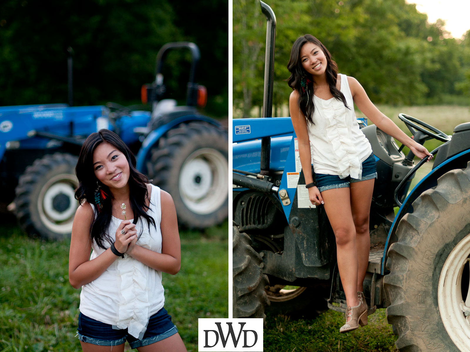 Senior Photo of Beautiful Asian Girl on Tractor | Senior Portraits Nashville TN