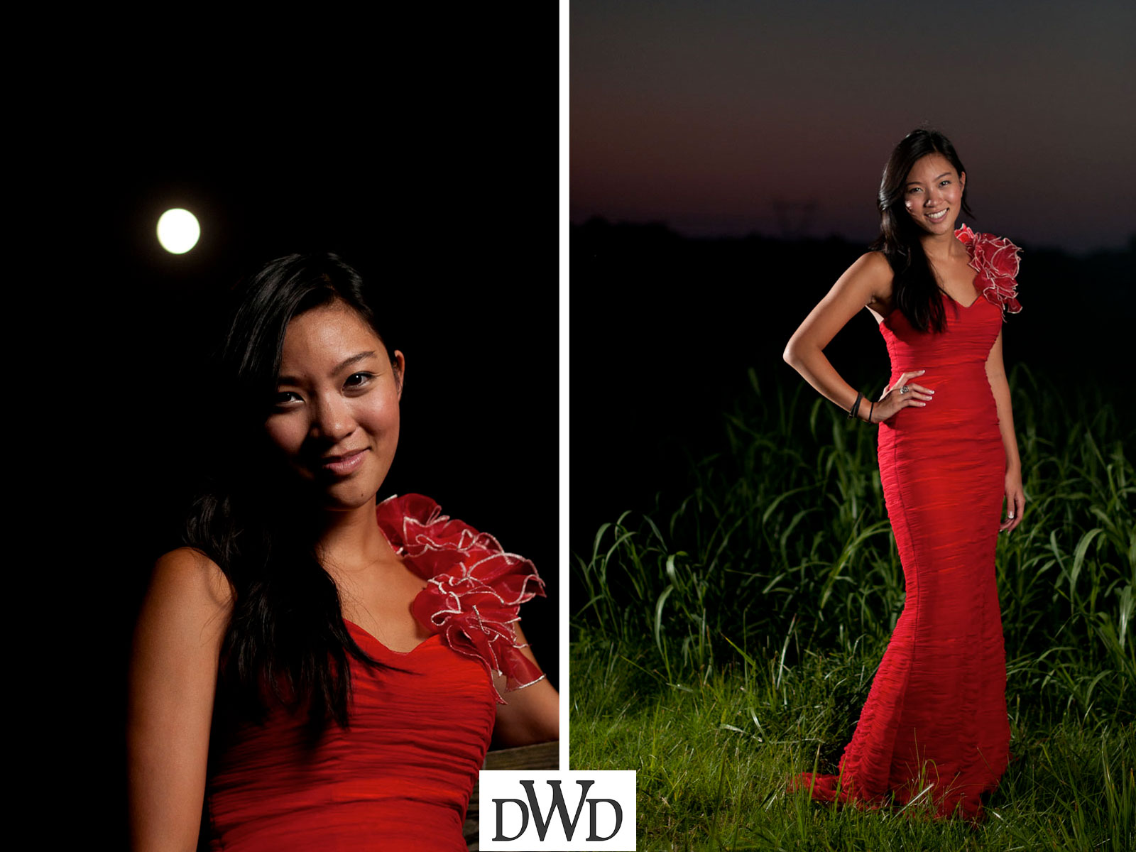 Strobist lighting of senior portrait session - Beautiful asian in red dress