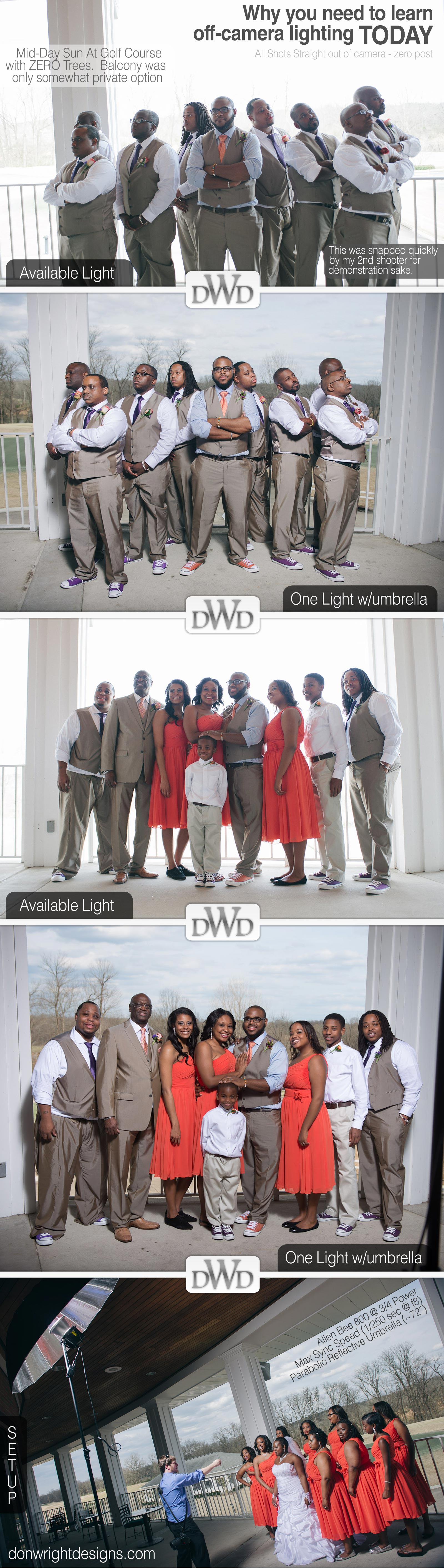 wedding group with available light and off camera flash example comparing