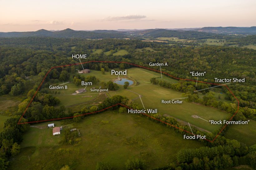aerial photo labeled features of 1500 fuston hollow rd auburntown tn